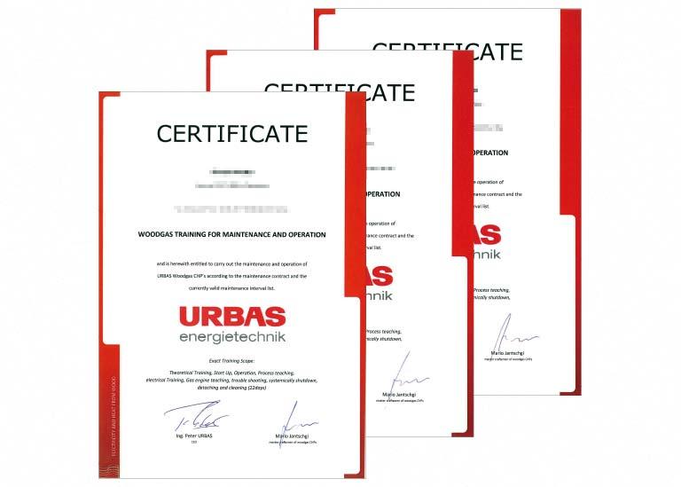 徳島電機産業 URBAS社トレーニング証書